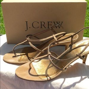 PRICE DROP! Tan/gold suede j. Crew heels!